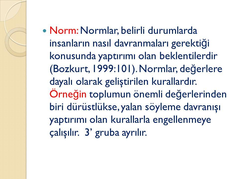 Norm: Normlar, belirli durumlarda insanların nasıl davranmaları gerektiği konusunda yaptırımı olan beklentilerdir (Bozkurt, 1999:101).