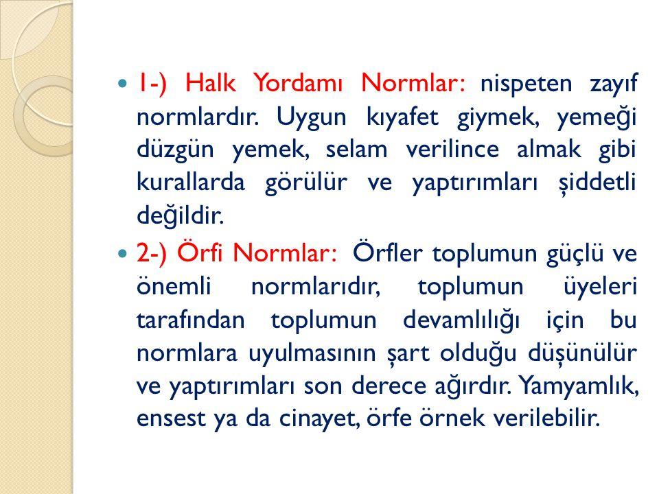 1-) Halk Yordamı Normlar: nispeten zayıf normlardır
