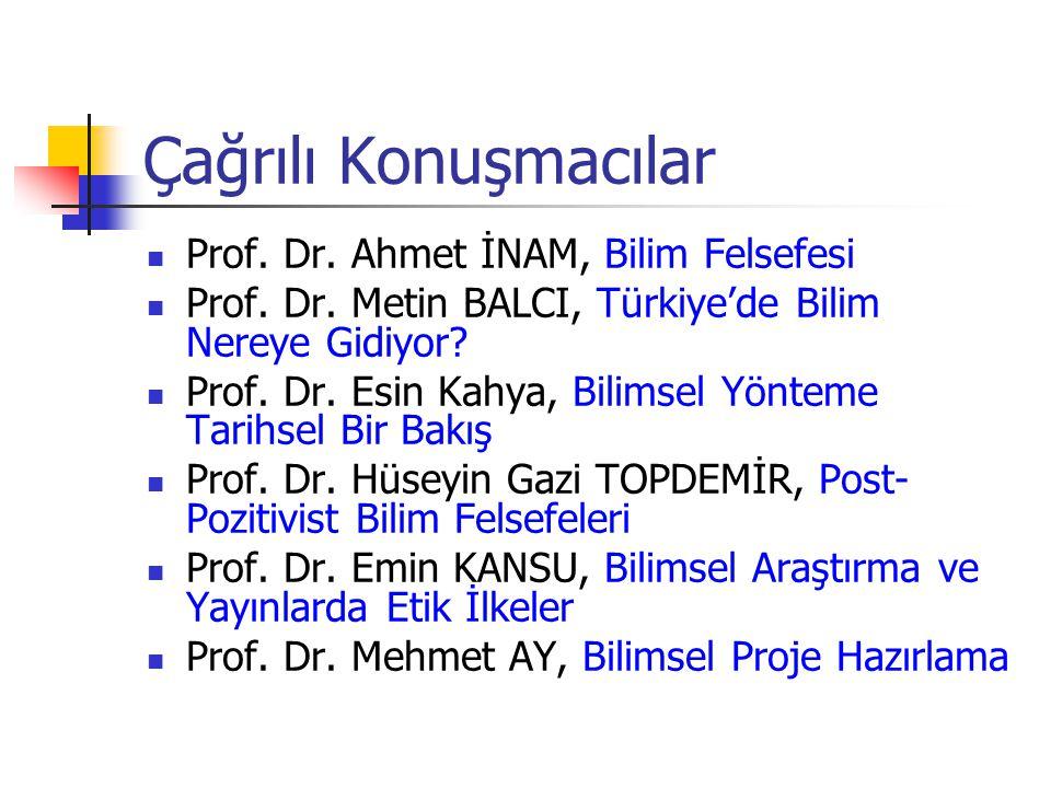 Çağrılı Konuşmacılar Prof. Dr. Ahmet İNAM, Bilim Felsefesi