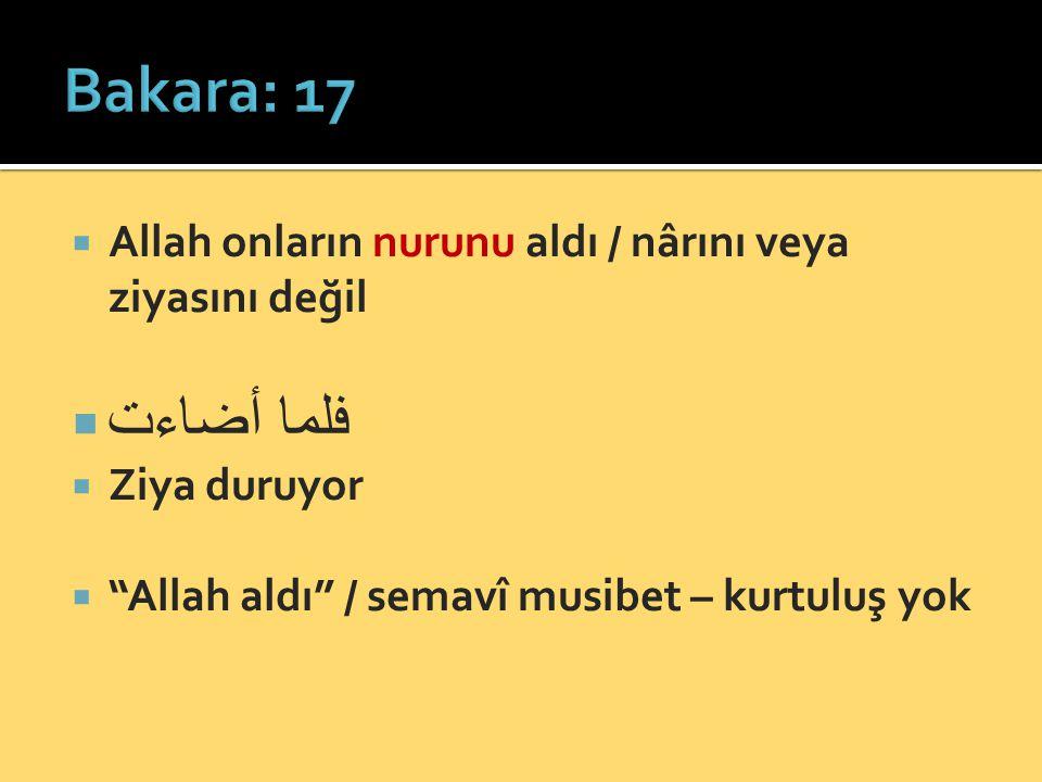 Bakara: 17 Allah onların nurunu aldı / nârını veya ziyasını değil.
