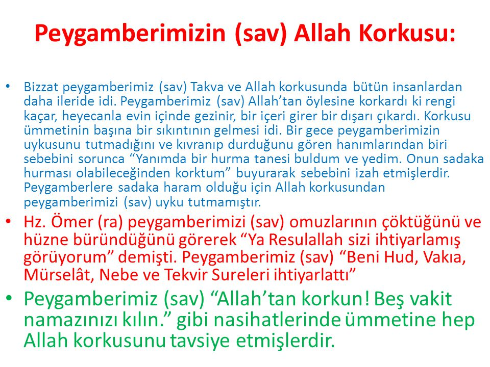 Peygamberimizin (sav) Allah Korkusu: