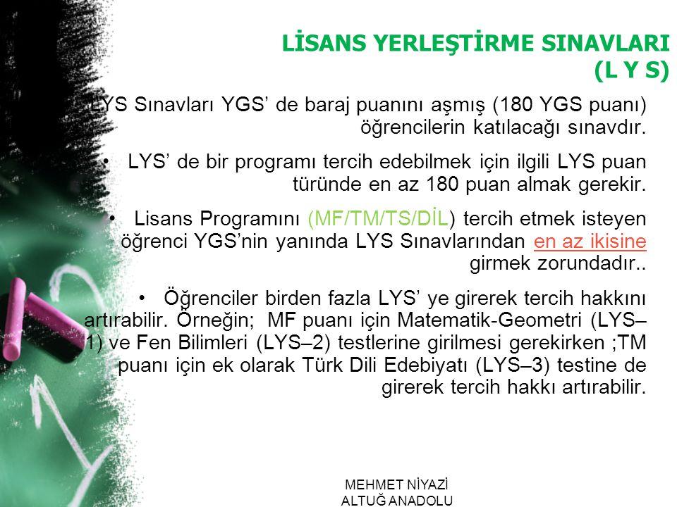 LİSANS YERLEŞTİRME SINAVLARI (L Y S)