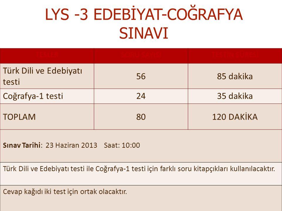 LYS -3 EDEBİYAT-COĞRAFYA SINAVI