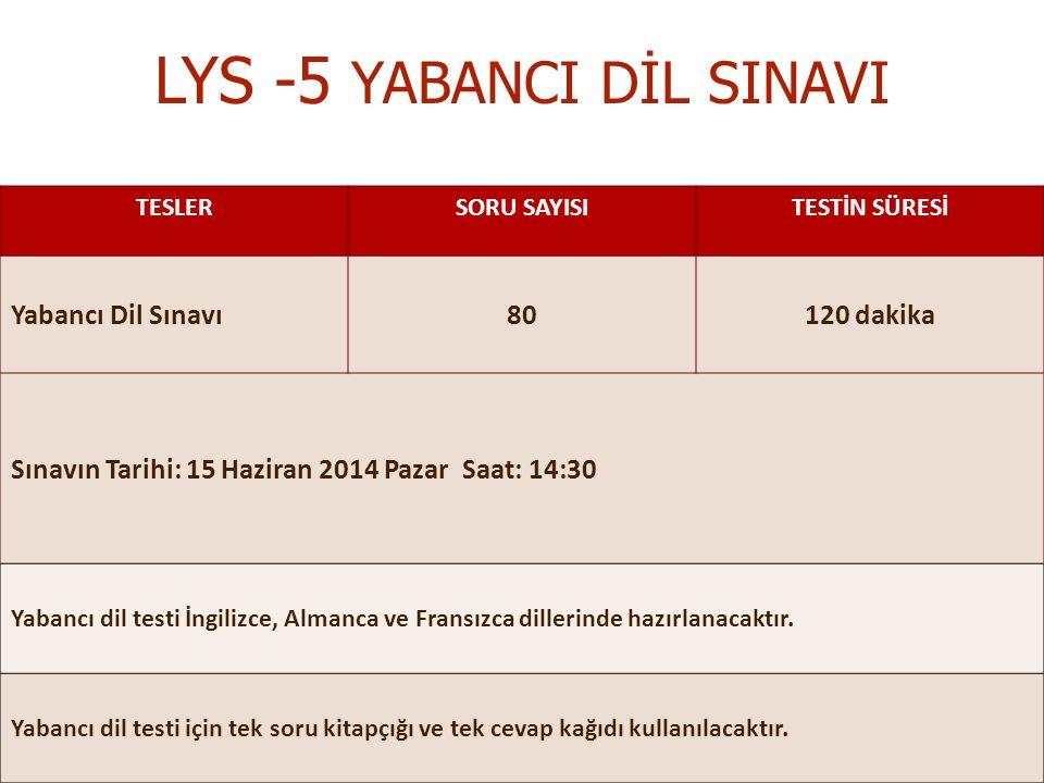 LYS -5 YABANCI DİL SINAVI
