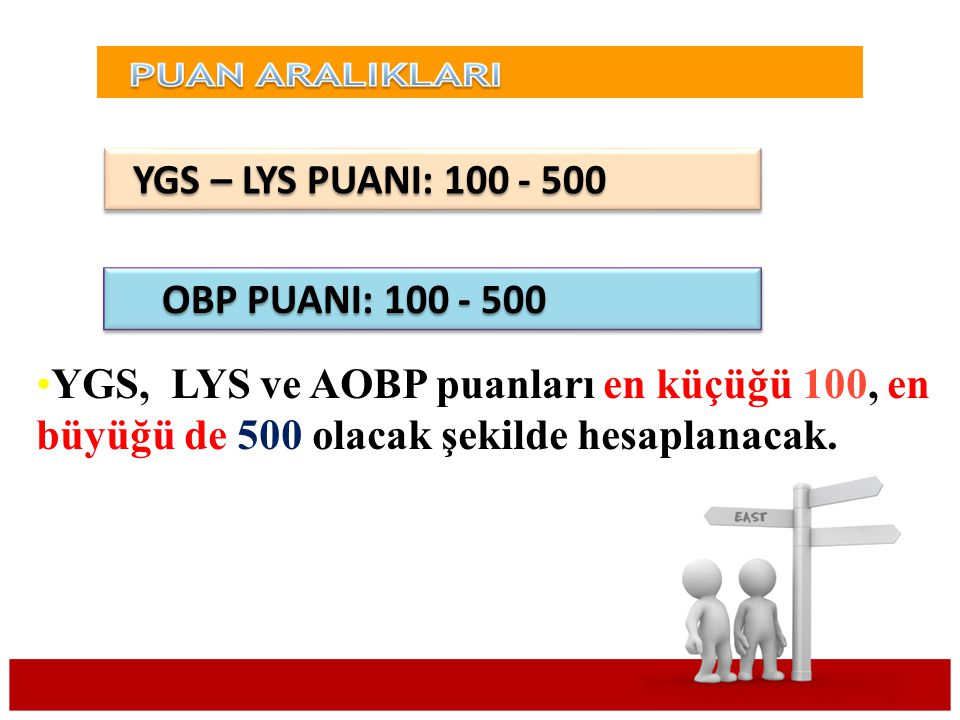 YGS – LYS PUANI: 100 - 500 OBP PUANI: 100 - 500