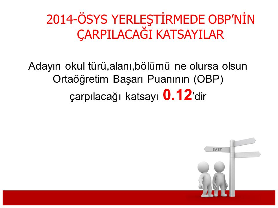 2014-ÖSYS YERLEŞTİRMEDE OBP'NİN ÇARPILACAĞI KATSAYILAR
