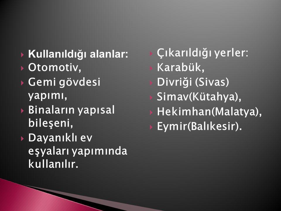 Kullanıldığı alanlar: