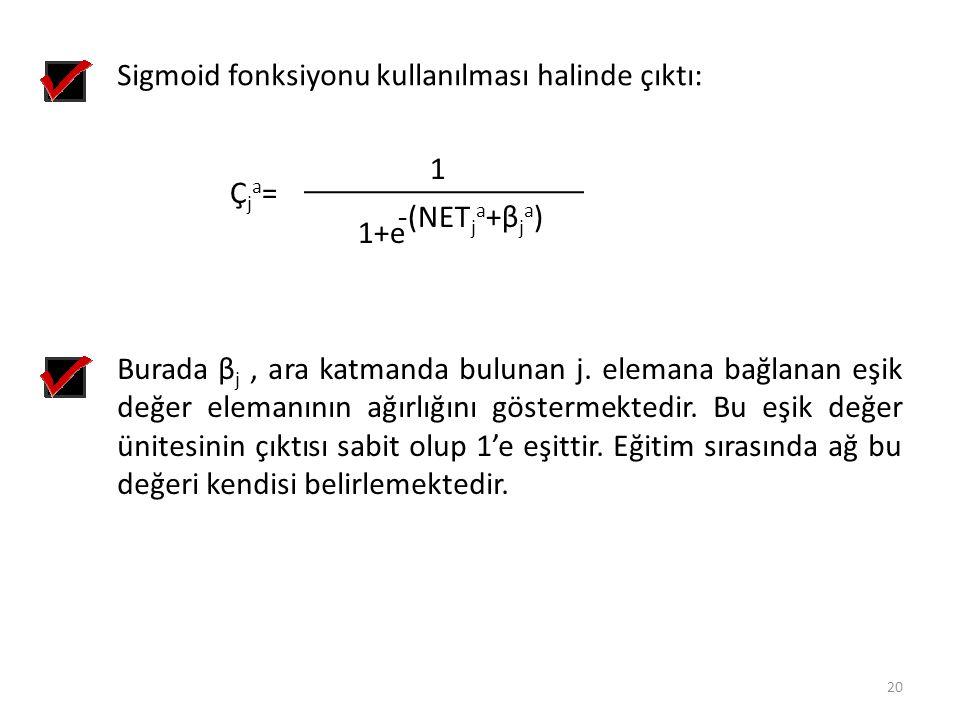 Sigmoid fonksiyonu kullanılması halinde çıktı: