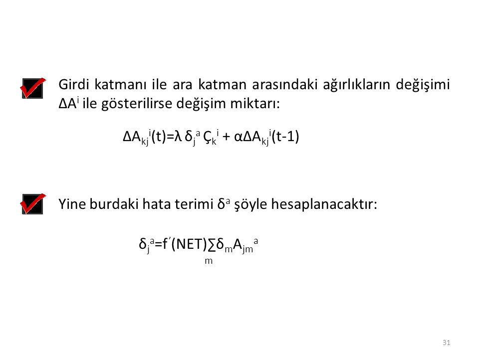 ∆Akji(t)=λ δja Çki + α∆Akji(t-1)