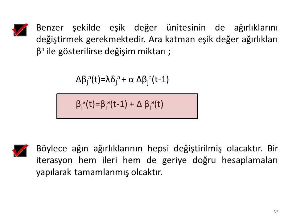 Benzer şekilde eşik değer ünitesinin de ağırlıklarını değiştirmek gerekmektedir. Ara katman eşik değer ağırlıkları βa ile gösterilirse değişim miktarı ;