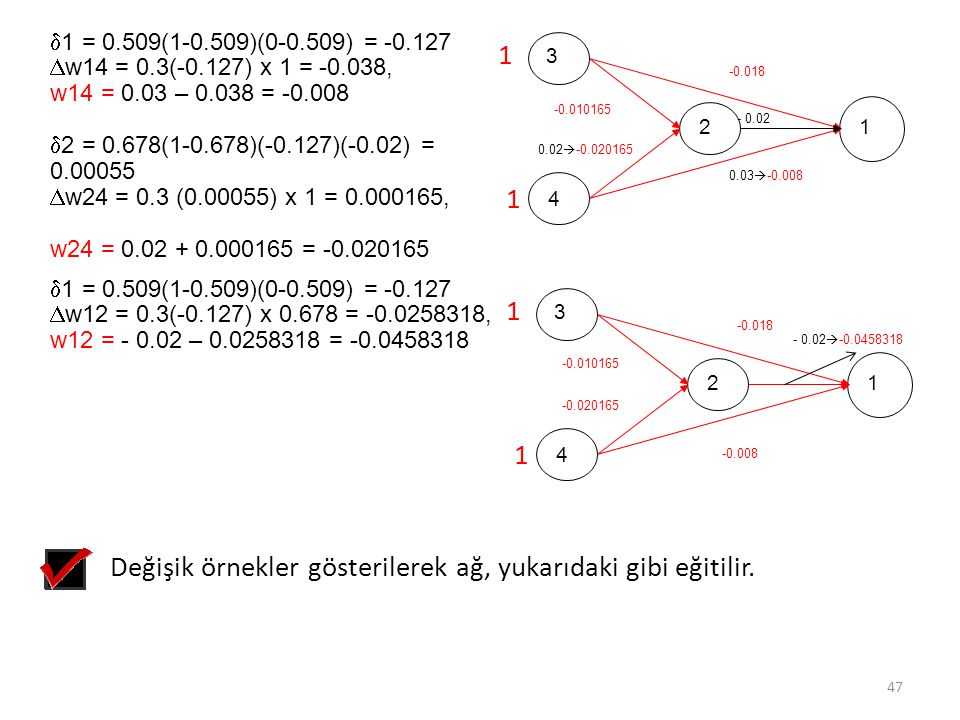 Değişik örnekler gösterilerek ağ, yukarıdaki gibi eğitilir.