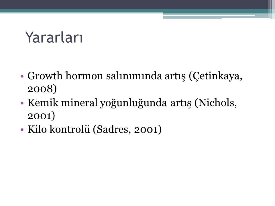Yararları Growth hormon salınımında artış (Çetinkaya, 2008)