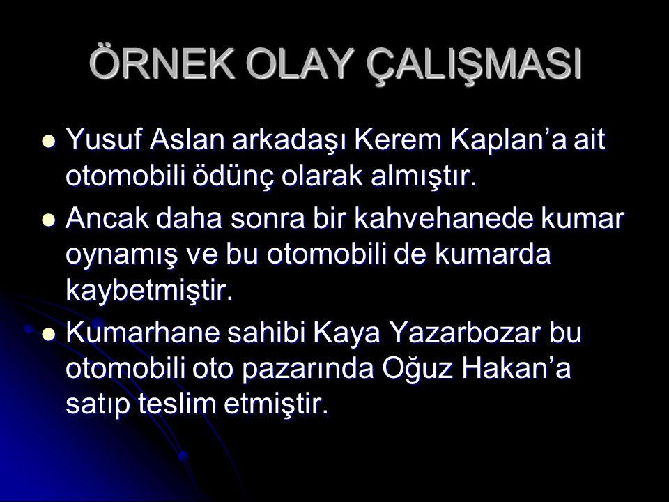 ÖRNEK OLAY ÇALIŞMASI Yusuf Aslan arkadaşı Kerem Kaplan'a ait otomobili ödünç olarak almıştır.