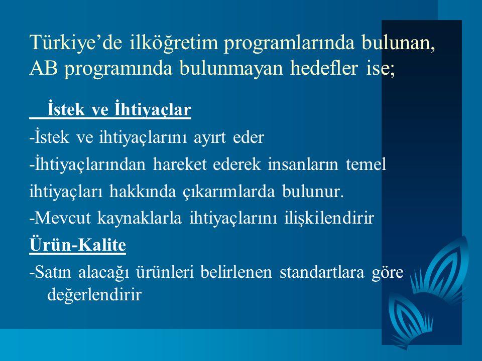 Türkiye'de ilköğretim programlarında bulunan, AB programında bulunmayan hedefler ise;