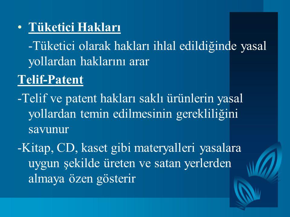 Tüketici Hakları -Tüketici olarak hakları ihlal edildiğinde yasal yollardan haklarını arar. Telif-Patent.