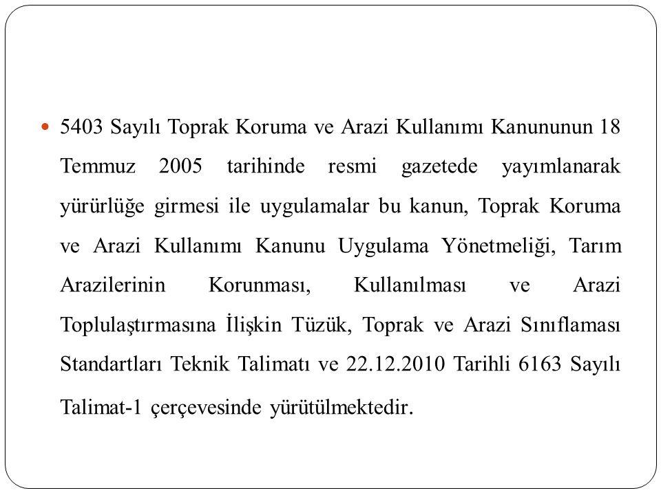 5403 Sayılı Toprak Koruma ve Arazi Kullanımı Kanununun 18 Temmuz 2005 tarihinde resmi gazetede yayımlanarak yürürlüğe girmesi ile uygulamalar bu kanun, Toprak Koruma ve Arazi Kullanımı Kanunu Uygulama Yönetmeliği, Tarım Arazilerinin Korunması, Kullanılması ve Arazi Toplulaştırmasına İlişkin Tüzük, Toprak ve Arazi Sınıflaması Standartları Teknik Talimatı ve 22.12.2010 Tarihli 6163 Sayılı Talimat-1 çerçevesinde yürütülmektedir.