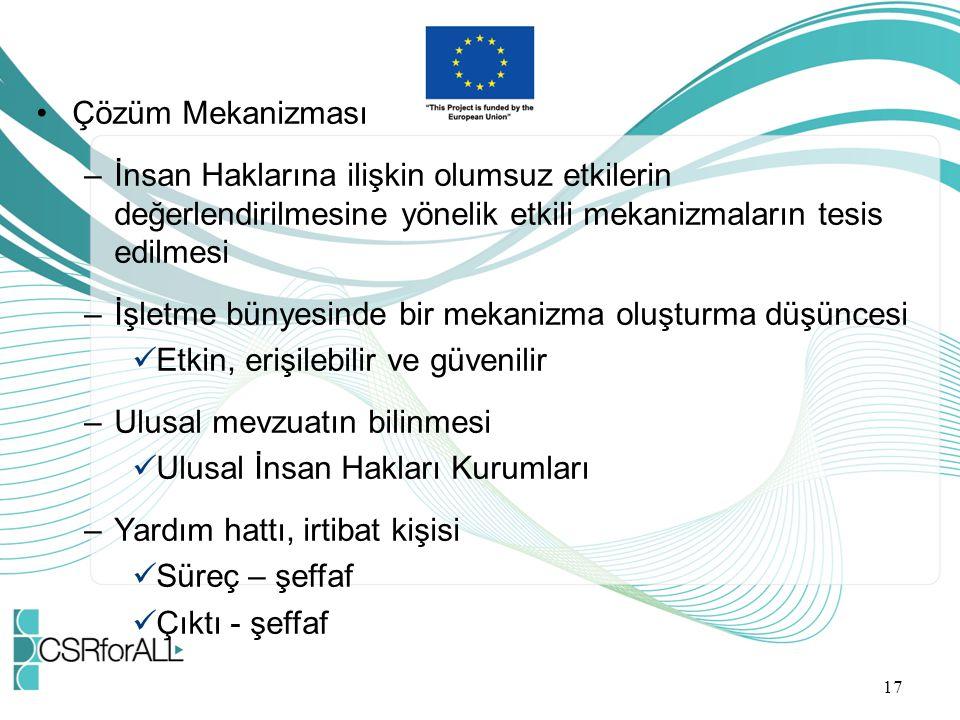 Çözüm Mekanizması İnsan Haklarına ilişkin olumsuz etkilerin değerlendirilmesine yönelik etkili mekanizmaların tesis edilmesi.