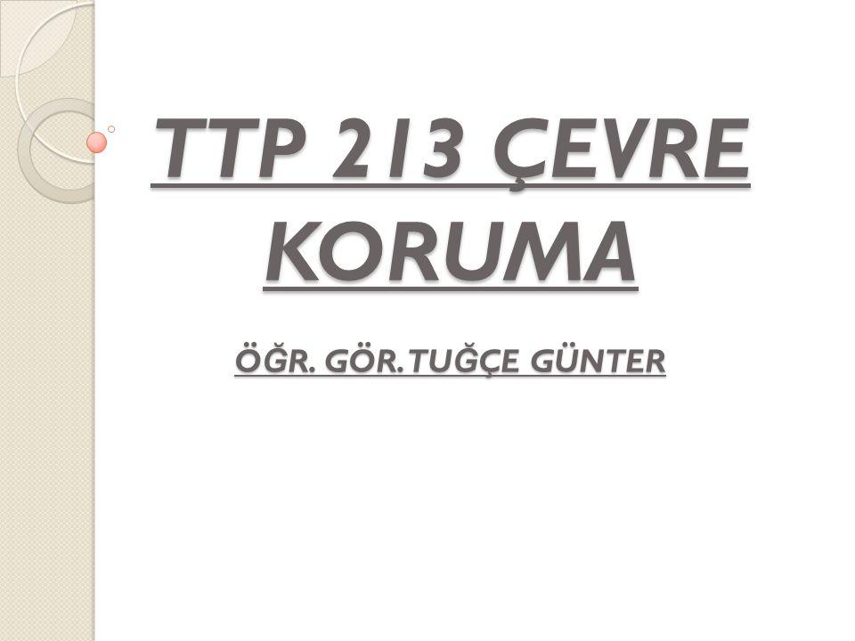TTP 213 ÇEVRE KORUMA ÖĞR. GÖR. TUĞÇE GÜNTER
