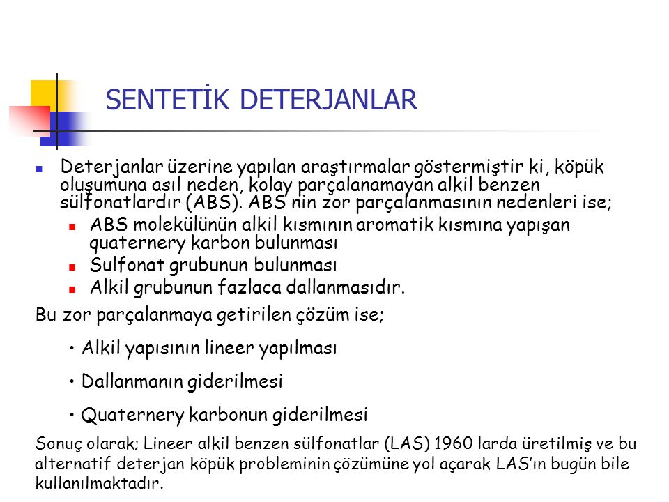 SENTETİK DETERJANLAR