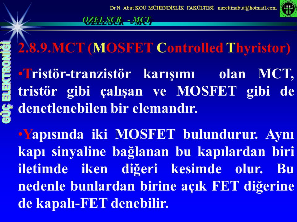 2.8.9.MCT (MOSFET Controlled Thyristor)