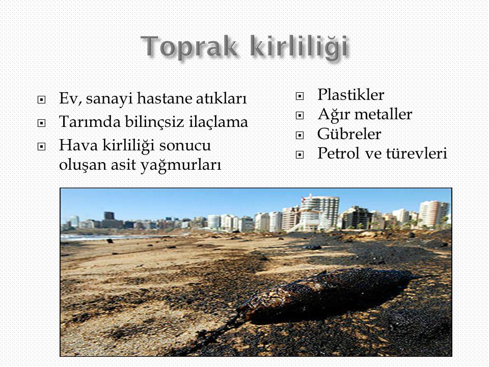 Toprak kirliliği Ev, sanayi hastane atıkları