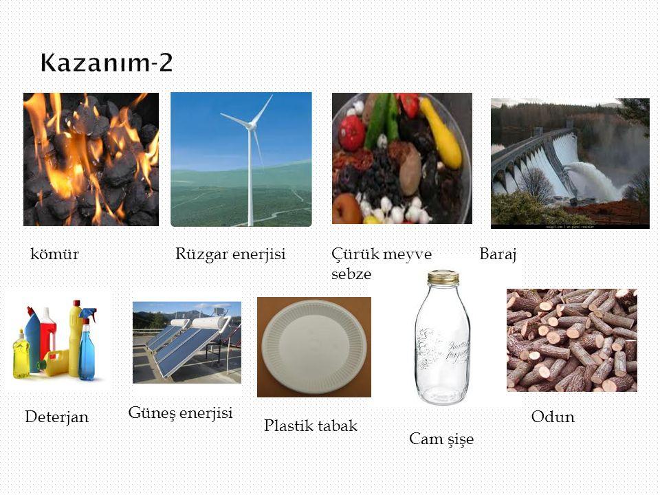 Kazanım-2 kömür Rüzgar enerjisi Çürük meyve sebze Baraj Deterjan
