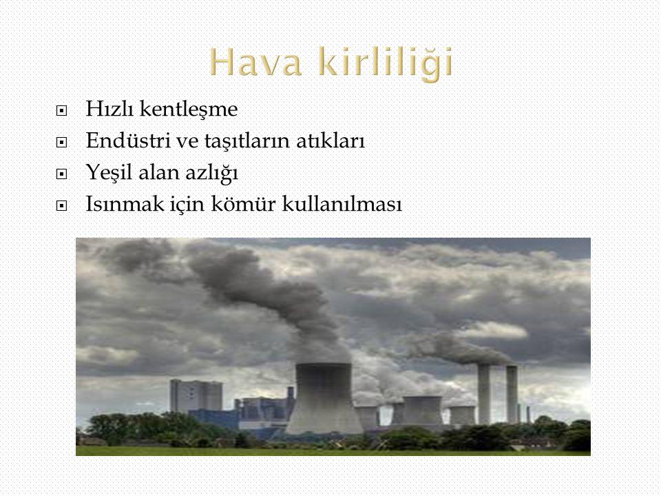 Hava kirliliği Hızlı kentleşme Endüstri ve taşıtların atıkları