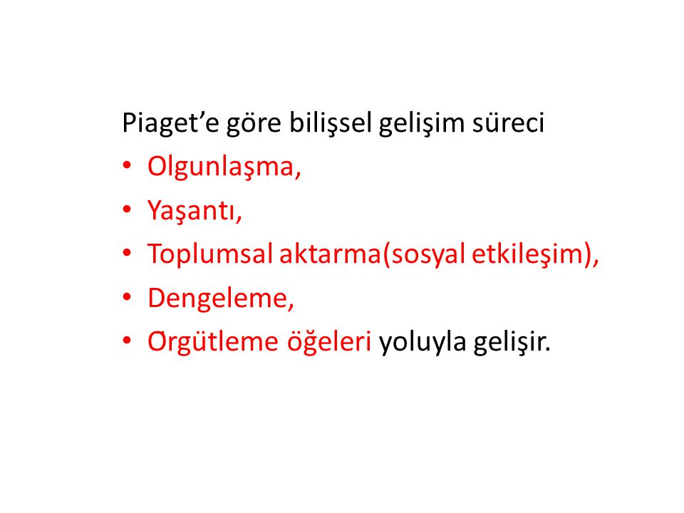Piaget'e göre bilişsel gelişim süreci