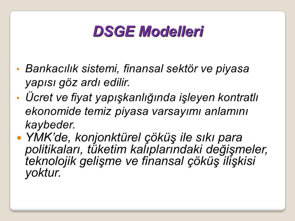 DSGE Modelleri Bankacılık sistemi, finansal sektör ve piyasa yapısı göz ardı edilir.
