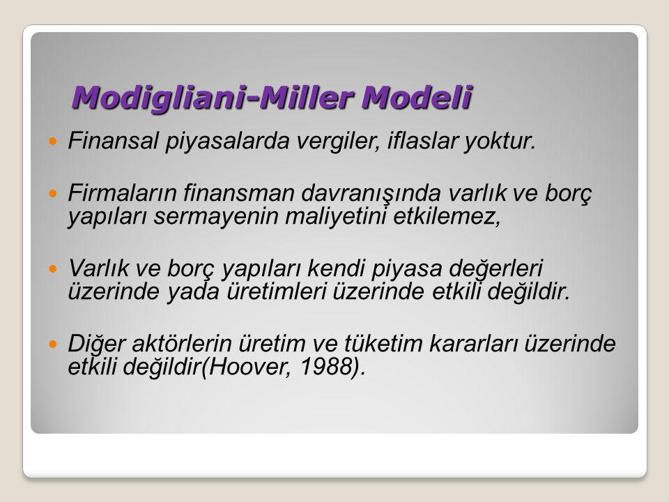 Modigliani-Miller Modeli