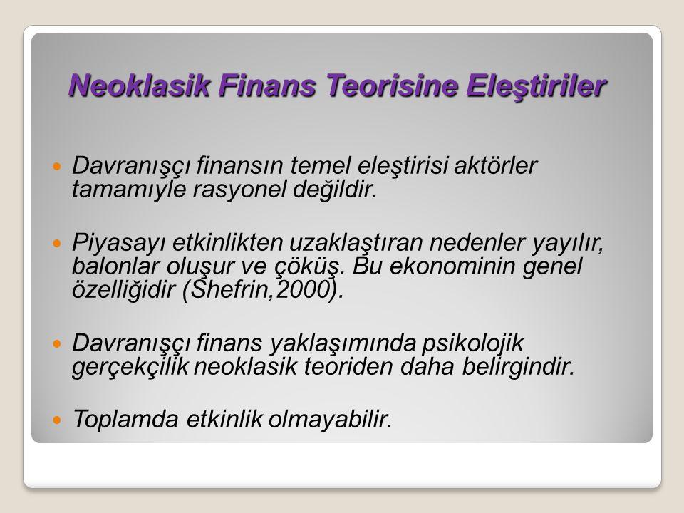 Neoklasik Finans Teorisine Eleştiriler