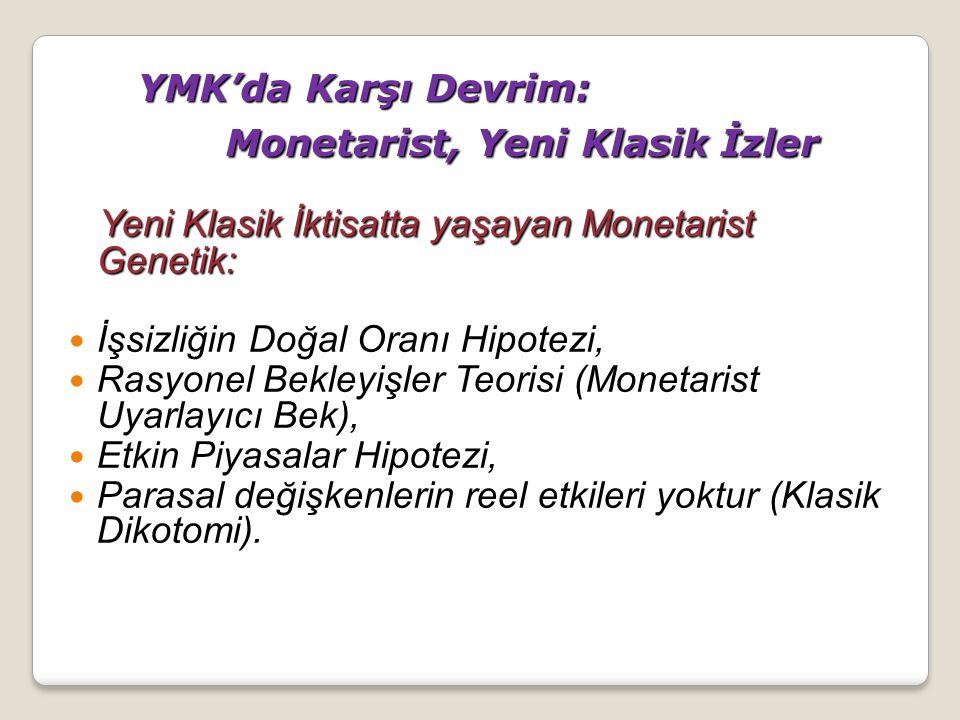 YMK'da Karşı Devrim: Monetarist, Yeni Klasik İzler
