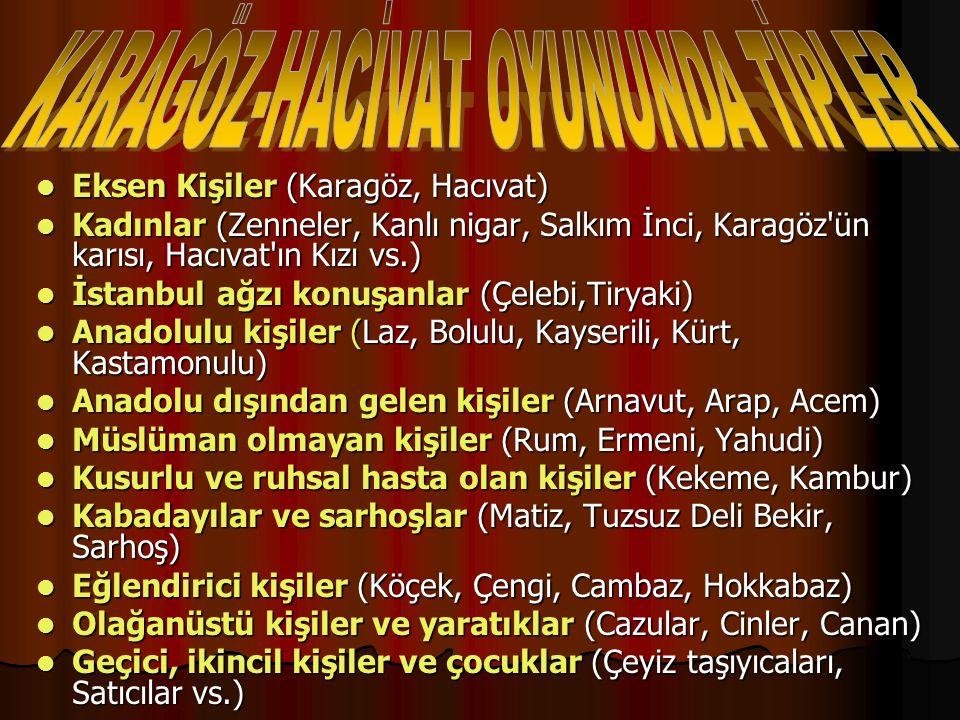 KARAGÖZ-HACİVAT OYUNUNDA TİPLER