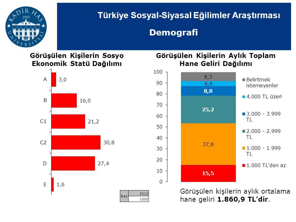 Demografi Görüşülen Kişilerin Sosyo Ekonomik Statü Dağılımı