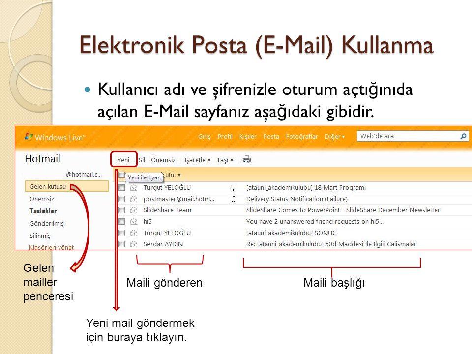 Elektronik Posta (E-Mail) Kullanma