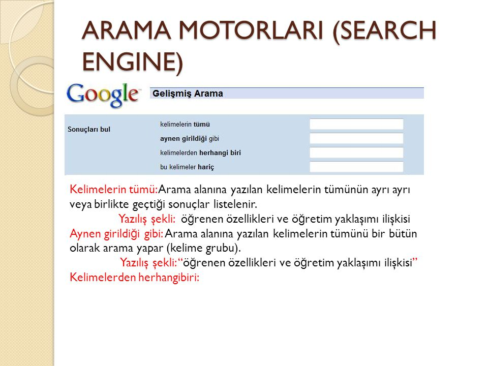ARAMA MOTORLARI (SEARCH ENGINE)
