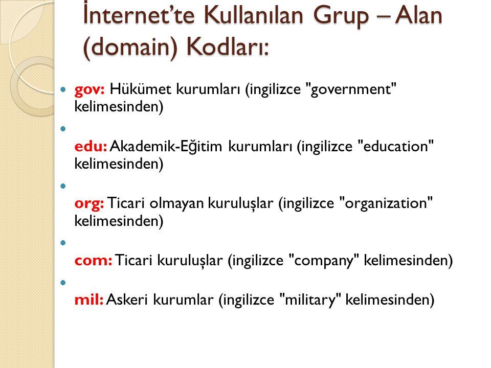 İnternet'te Kullanılan Grup – Alan (domain) Kodları: