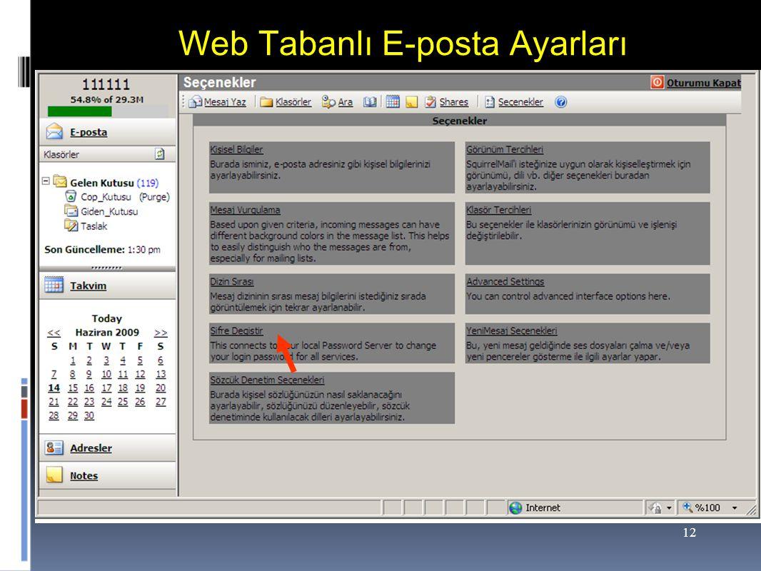 Web Tabanlı E-posta Ayarları