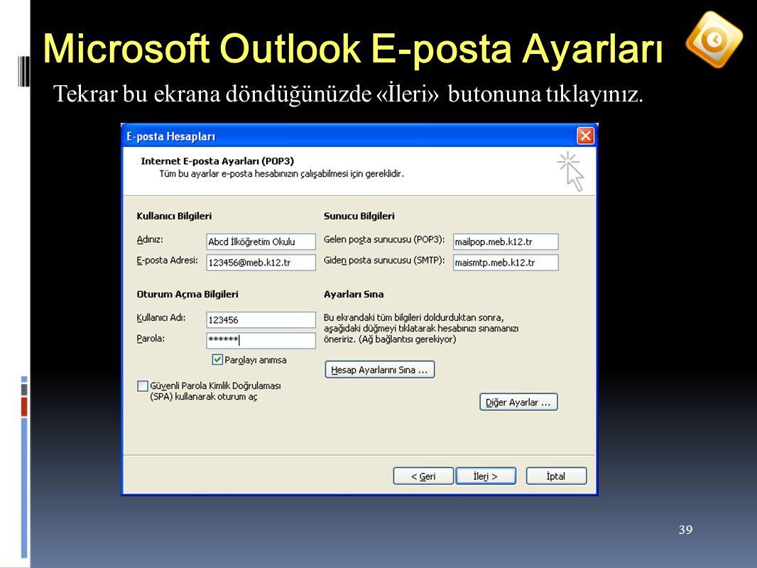 Microsoft Outlook E-posta Ayarları