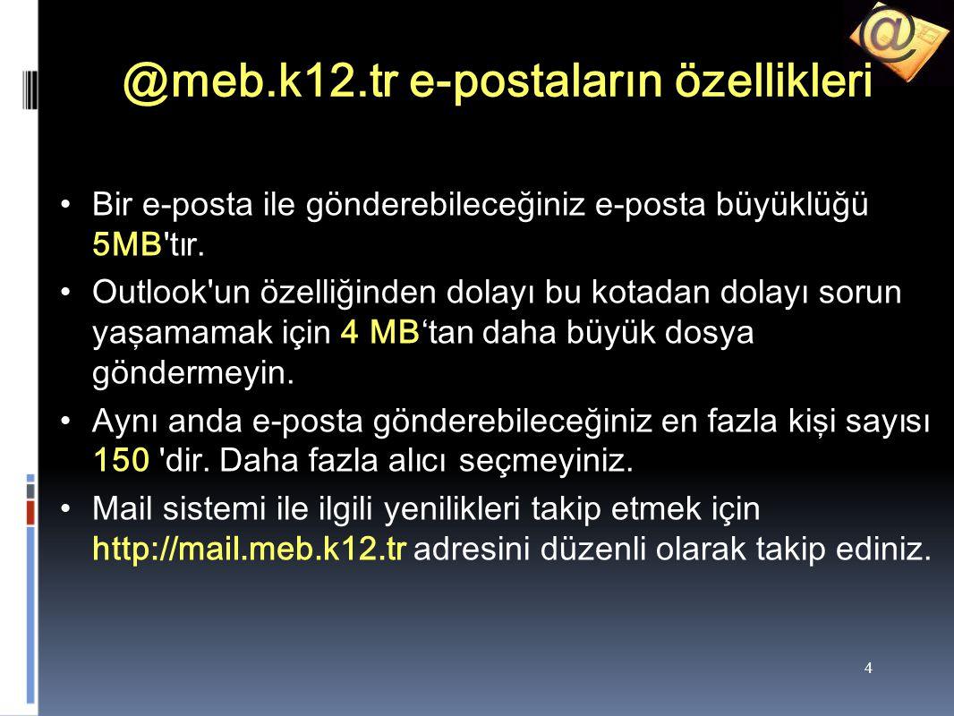 @meb.k12.tr e-postaların özellikleri