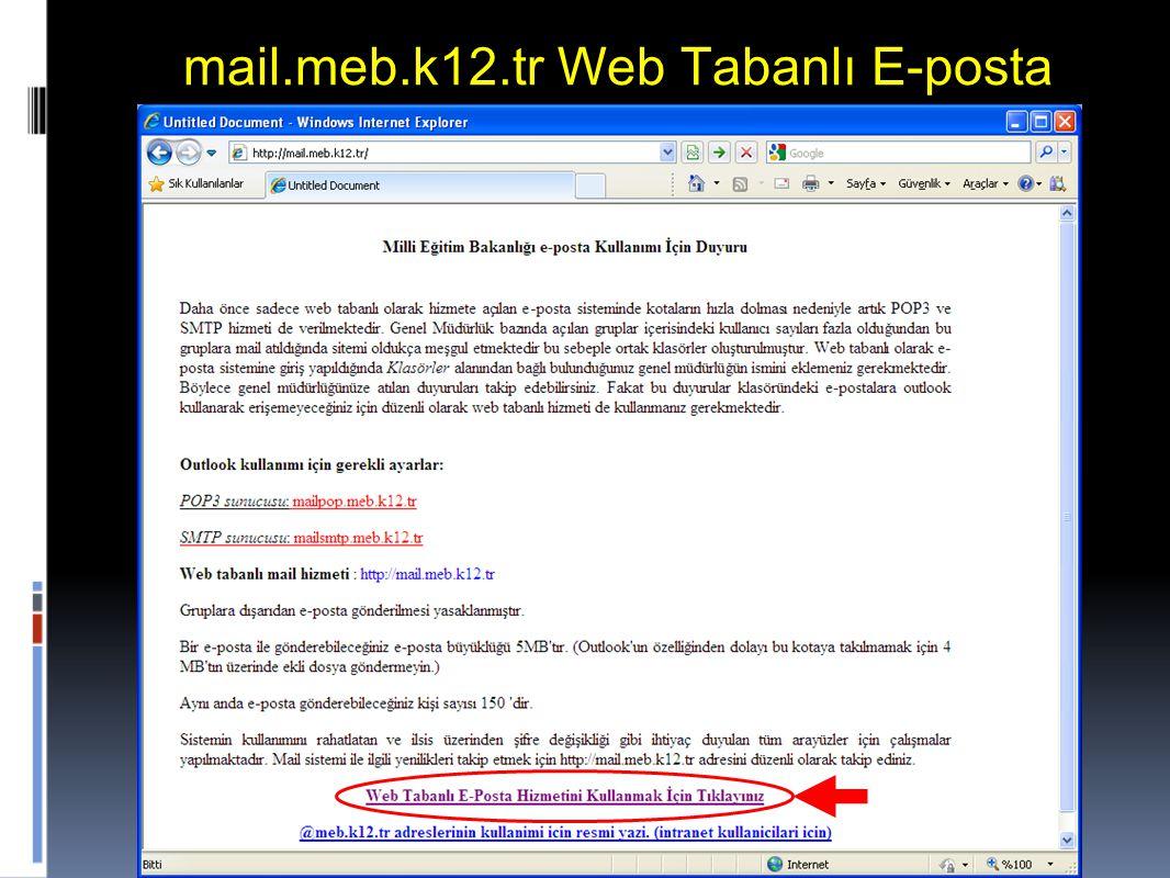 mail.meb.k12.tr Web Tabanlı E-posta
