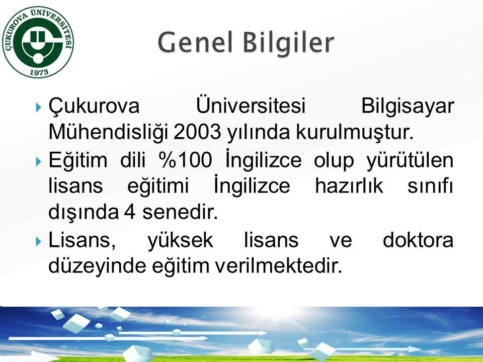 Genel Bilgiler Çukurova Üniversitesi Bilgisayar Mühendisliği 2003 yılında kurulmuştur.