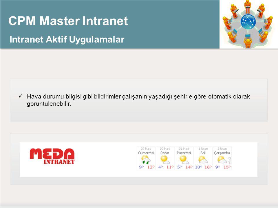 CPM Master Intranet Intranet Aktif Uygulamalar