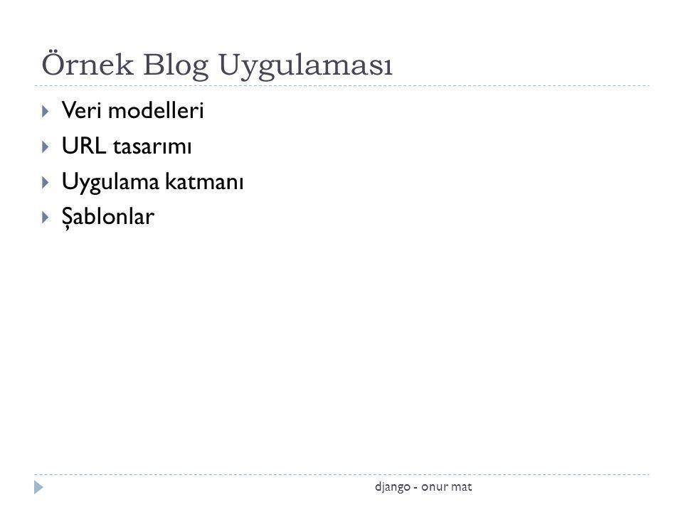 Örnek Blog Uygulaması Veri modelleri URL tasarımı Uygulama katmanı