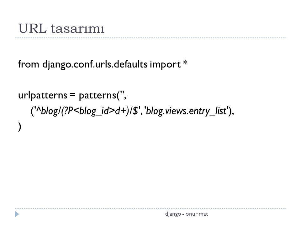 URL tasarımı from django.conf.urls.defaults import *