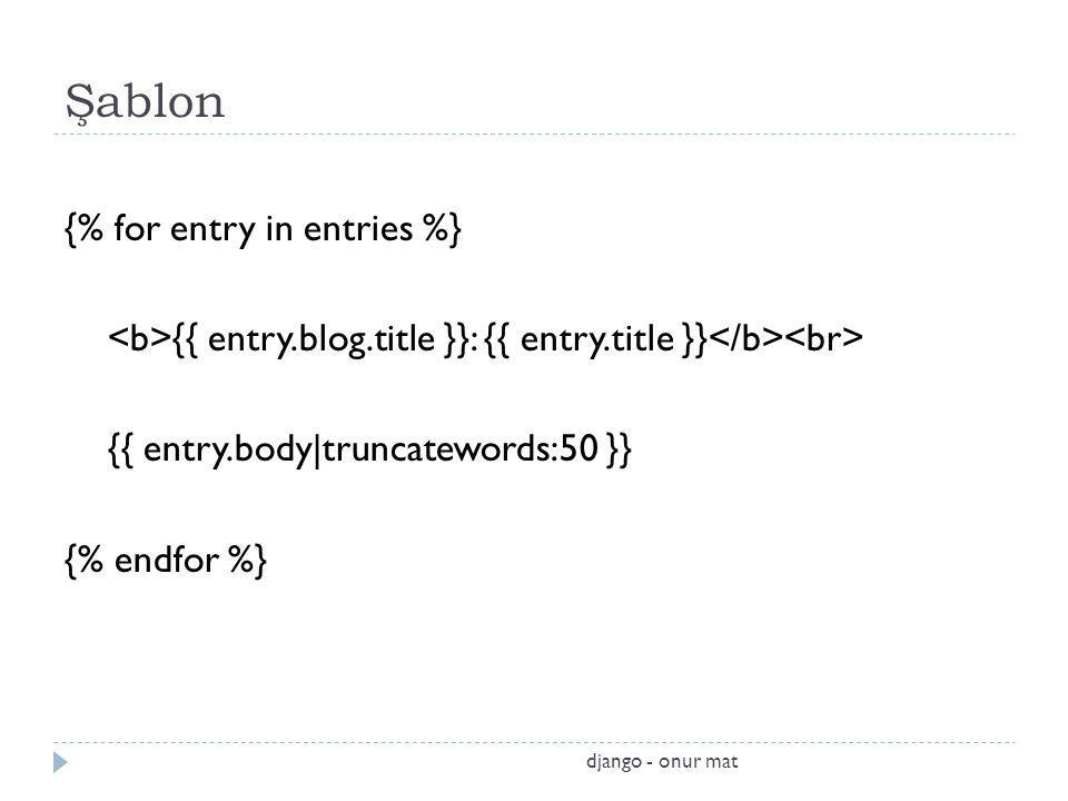 Şablon {% for entry in entries %}