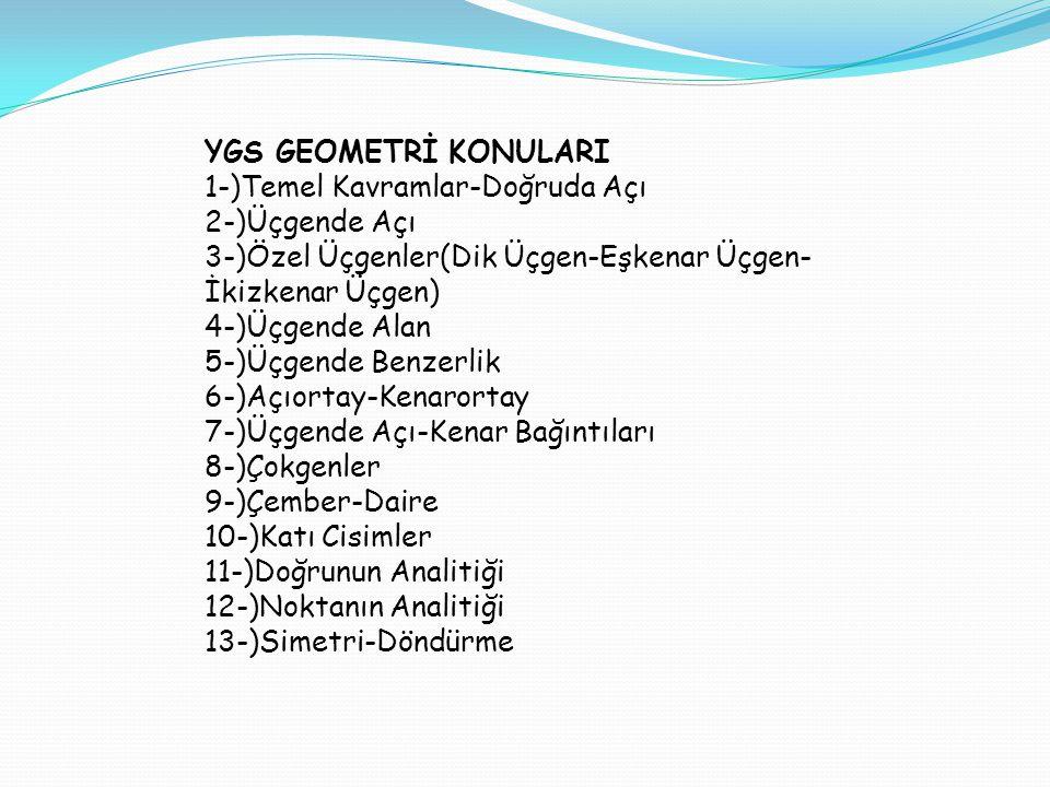 YGS GEOMETRİ KONULARI