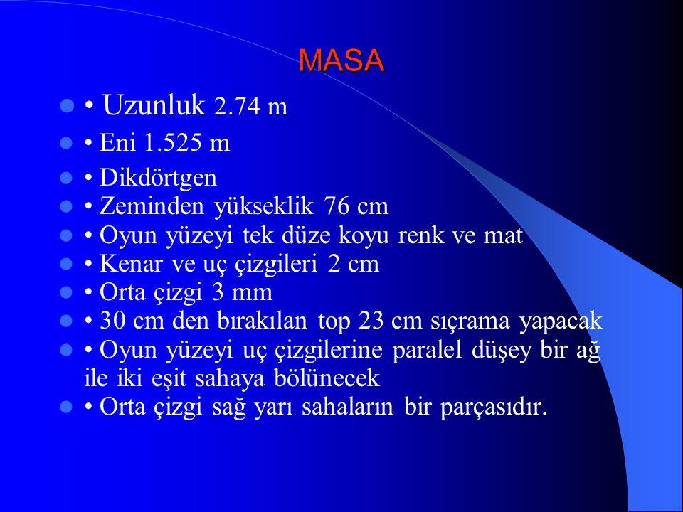 MASA • Uzunluk 2.74 m • Eni 1.525 m • Dikdörtgen