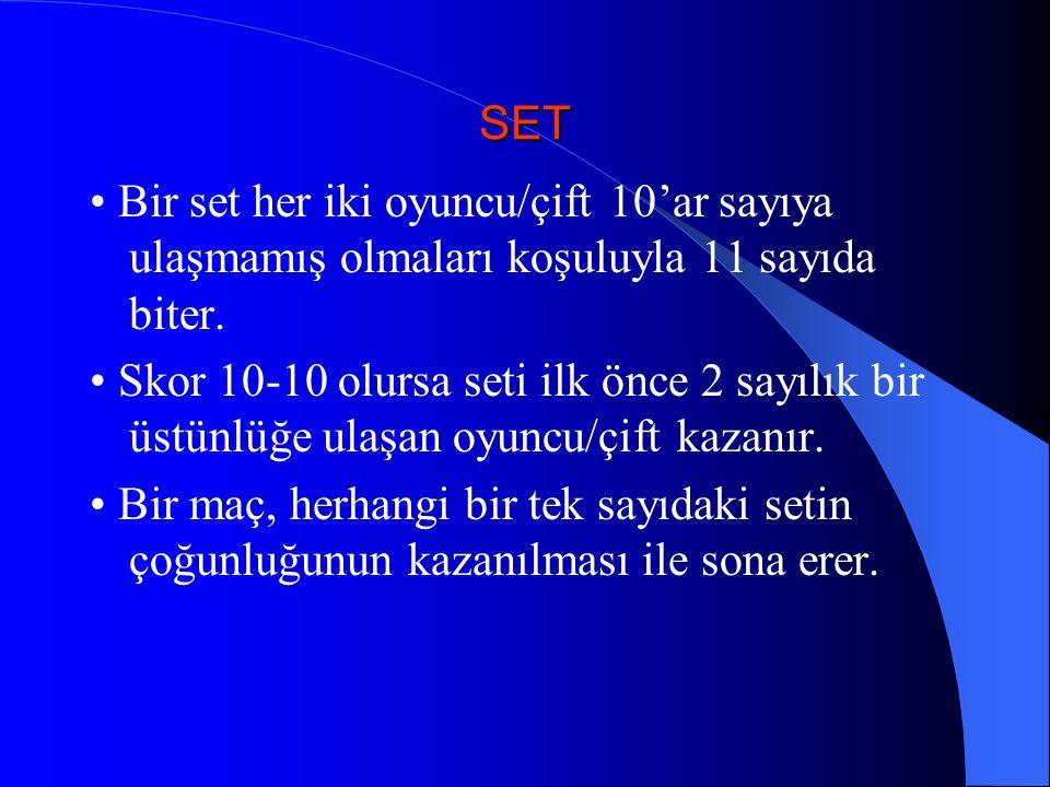 SET • Bir set her iki oyuncu/çift 10'ar sayıya ulaşmamış olmaları koşuluyla 11 sayıda biter.