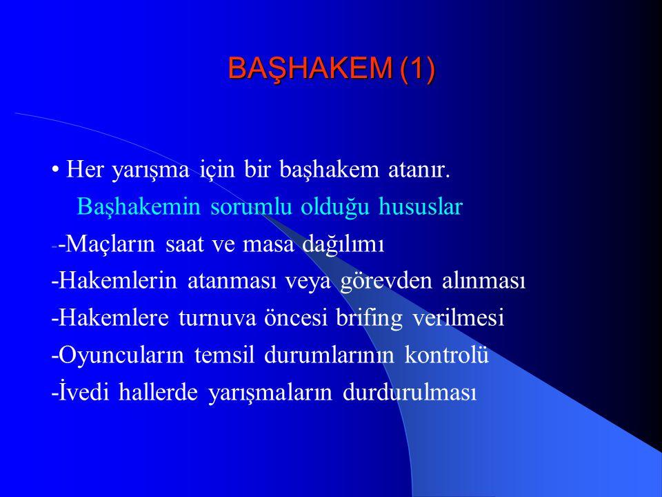 BAŞHAKEM (1) • Her yarışma için bir başhakem atanır.